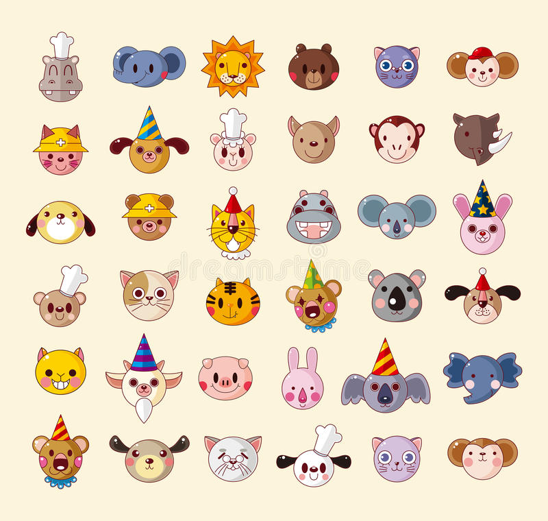 Download Set of animal head icons stock vector. Image of illustration - 30249530
