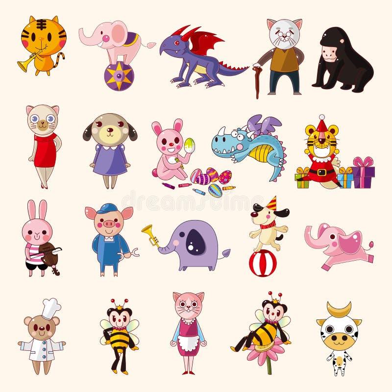 Download Set of animal icons stock vector. Image of cartoon, dragon - 31403536