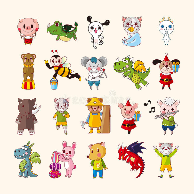 Download Set of animal icons stock vector. Image of cartoon, nature - 31580197