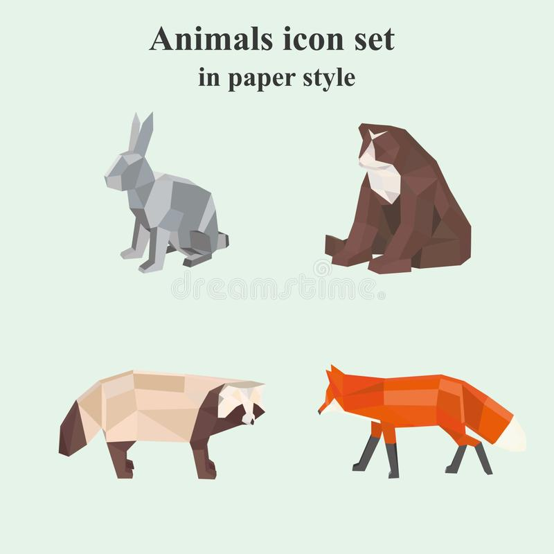 Set of animal icons in paper style. Which can be used as logo, web design royalty free illustration