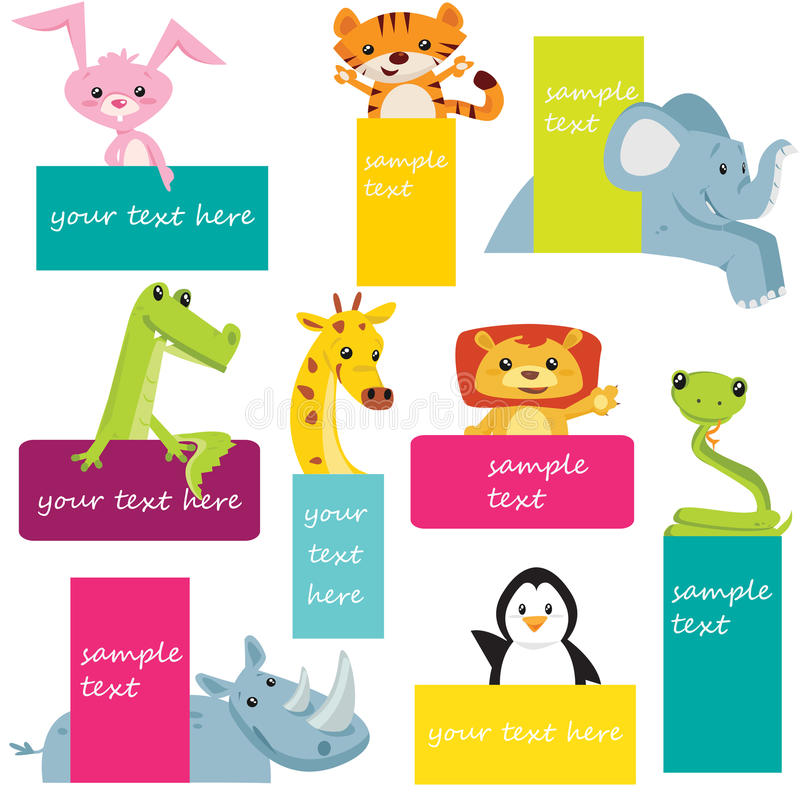 Download Set of animal labels stock vector. Image of birthday - 25064932