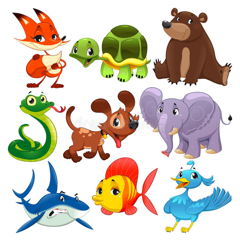 Set of animals. Cartoon and vector isolated characters