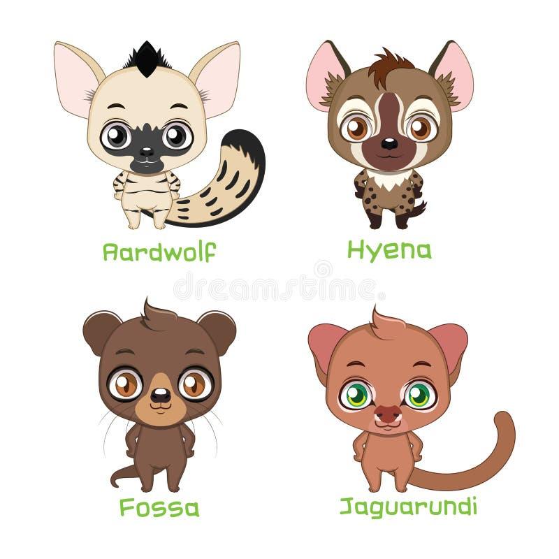 Set of animals belonging to the feliformia family. Animals belonging to the feliformia family stock illustration