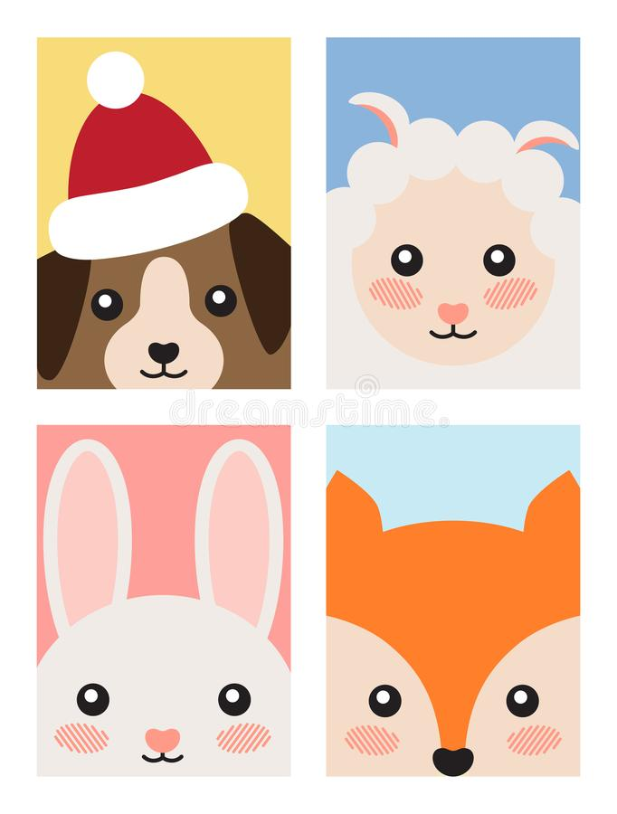 Set of Animals Covers Design Fox Rabbit Dog Sheep royalty free illustration