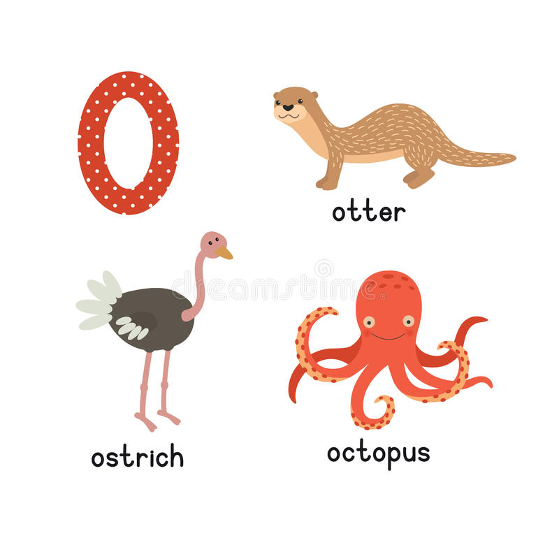 Set animals with the letter o otter ostrich octopus for Animals with the letter o in their name