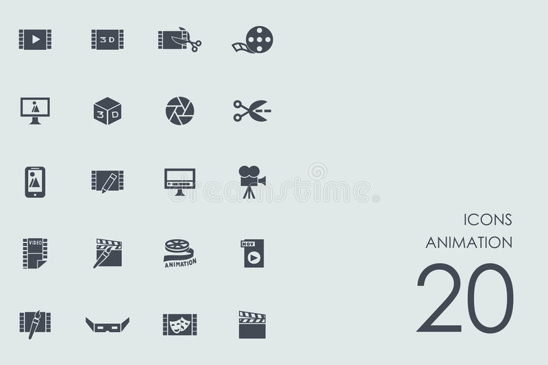 Set of animation icons stock illustration