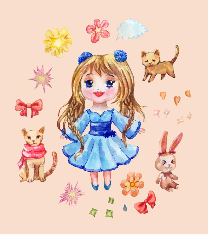 Set of anime stickers drawn in watercolor. Collection of chibi g royalty free illustration