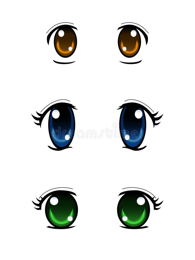 Set of anime style eyes isolated on white background royalty free illustration