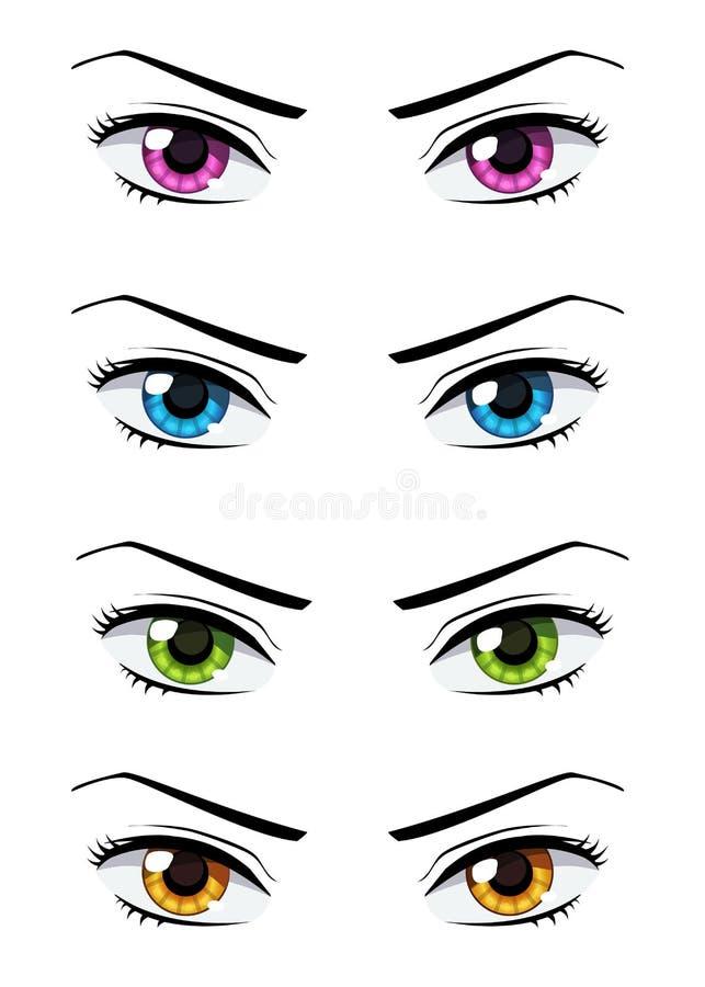 Set of anime style eyes. Set of anime style girls eyes of different colors, isolated on white stock illustration