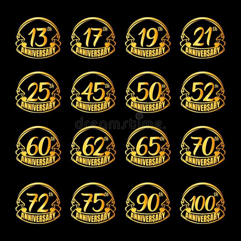 Set of anniversary badges. Golden anniversary celebration emblem design for booklet, leaflet, magazine, brochure poster, web,. Set of anniversary logotype stock illustration