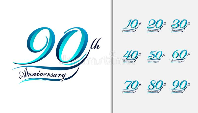 Set of anniversary Calligraphic and Typographic. Colorful anniversary celebration lettering design for booklet, leaflet, magazine. Brochure poster, web royalty free illustration