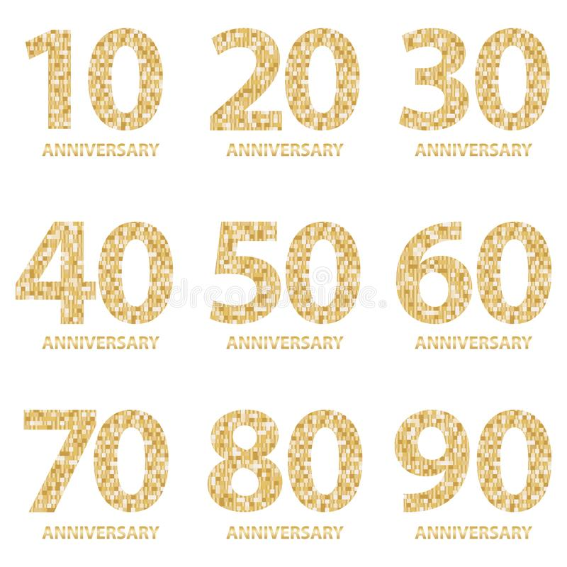 Set of Anniversary emblems , anniversary template design for web, game. Set of anniversary logotype. vector illustration