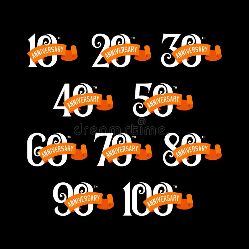 Set of anniversary emblems from 10 to 100. Numbers with ribons on black background. royalty free illustration