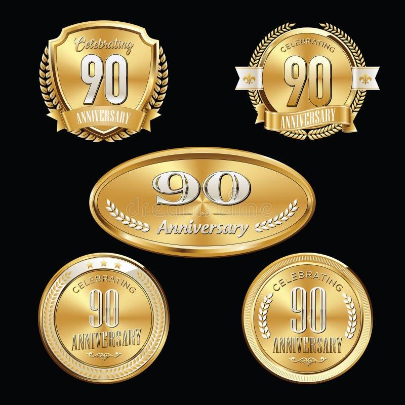 90th Anniversary emblems set stock illustration