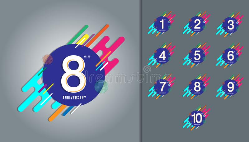 Set of anniversary logotype. Anniversary celebration with colorful abstract background design for booklet, leaflet, magazine, bro vector illustration