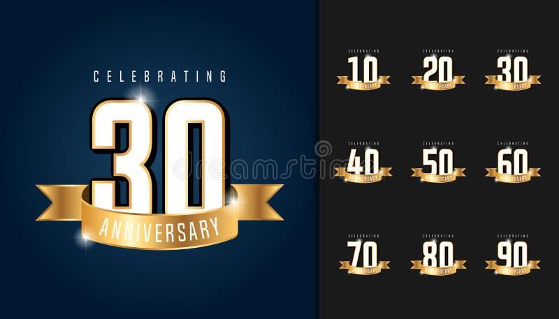 Set of anniversary logotype. Anniversary celebration emblem with. Ribbon design for booklet, leaflet, magazine, brochure poster, web, invitation or greeting royalty free illustration