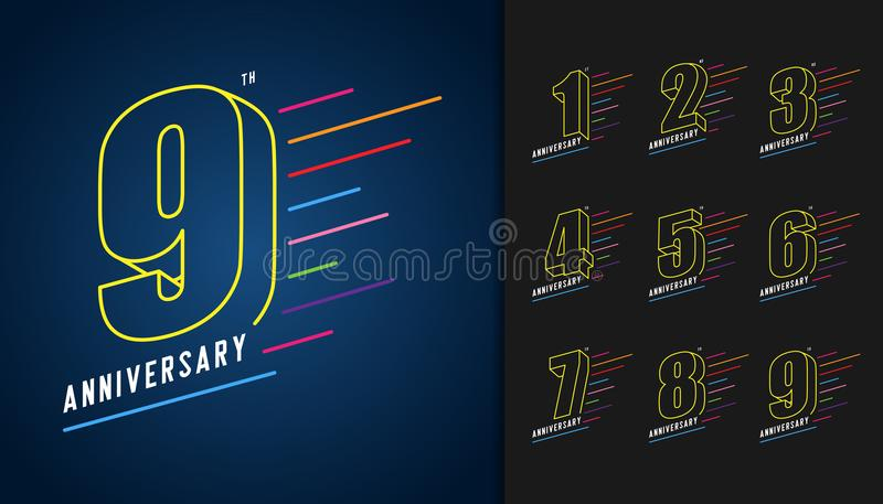 Set of anniversary logotype. Colorful anniversary celebration icons design for booklet, leaflet, magazine, brochure. Poster, web, invitation or greeting card royalty free illustration