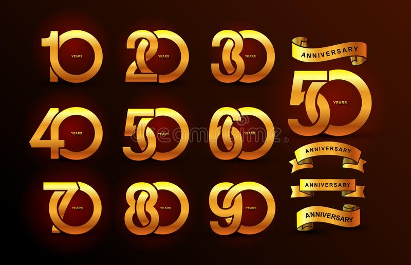 Set of anniversary pictogram gold icon. Flat design. 10, 20, 30, 40, 50, 60, 70, 80, 90, years birthday logo label, gold stamp. Ve vector illustration