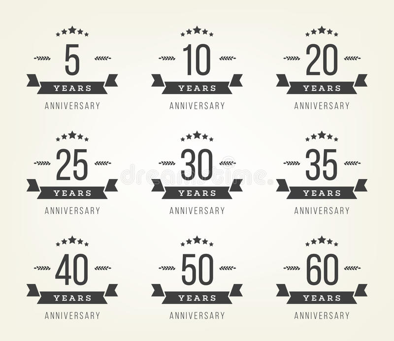 Set of anniversary signs, symbols. Five, ten, twenty, thirty, forty, fifty years jubilee design elements collection. Vector set of anniversary signs, symbols stock illustration
