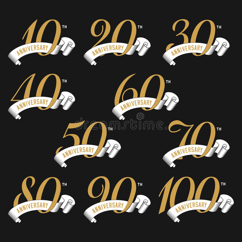 The set of anniversary signs from 10th to 100th with ribbons. vector illustration
