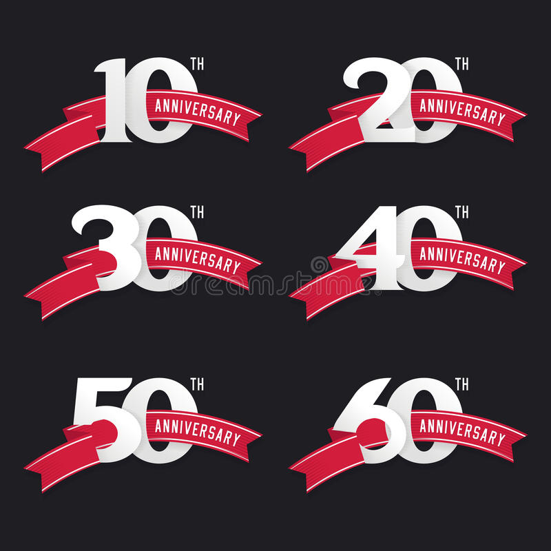 The set of anniversary signs from 10th to 60th. royalty free illustration