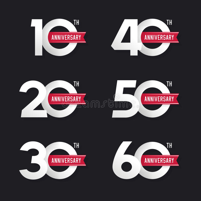 The set of anniversary signs from 10th to 60th. vector illustration