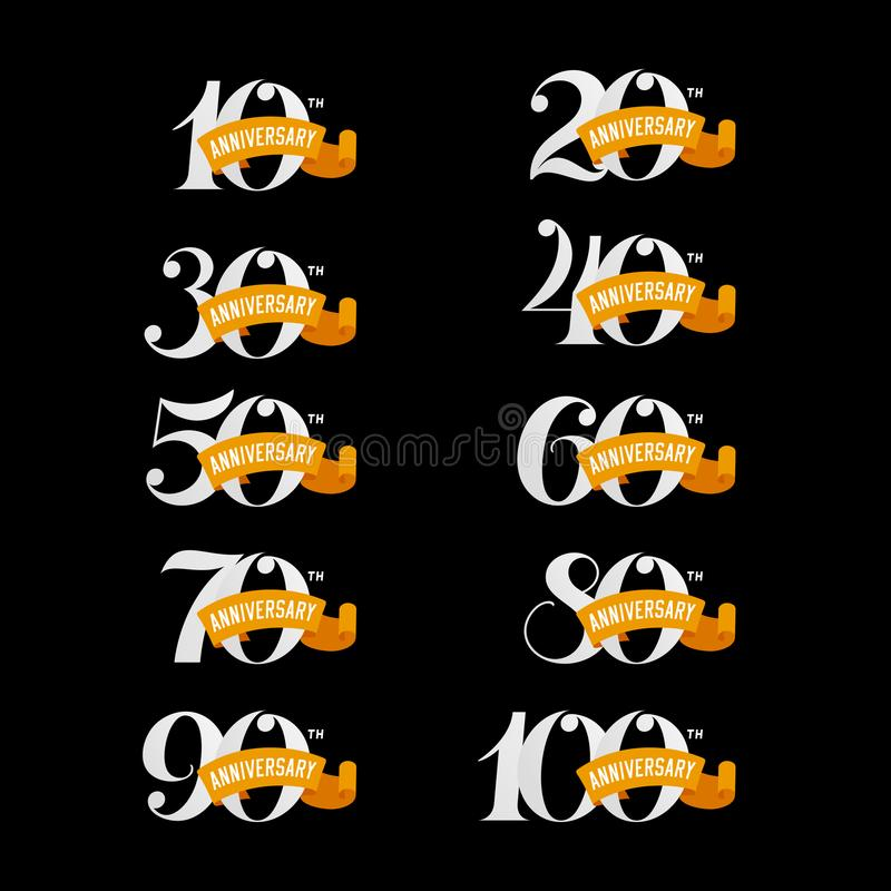 Set of anniversary signs from 10th to 100th. White numbers on a black background. stock illustration