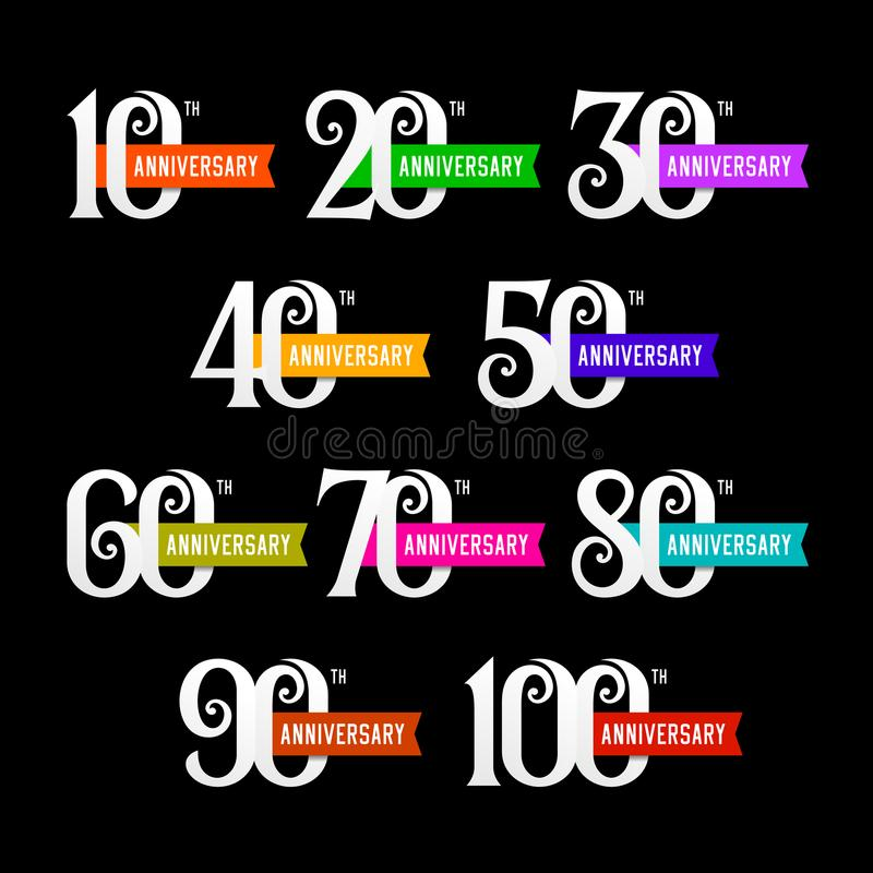 Set of anniversary signs from 10 to 100. Numbers on black background. royalty free illustration