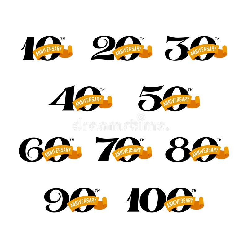 Set of anniversary signs from 10 to 100. Numbers on a white background. stock illustration