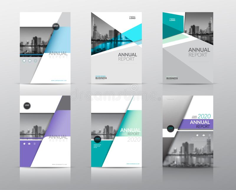 Set of 6 annual reports cover brochure flyer design template. with abstract background stock illustration