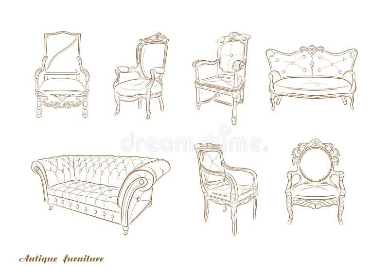 Set antike Möbel Lehnsessel, Sofa, Vektor lizenzfreie abbildung