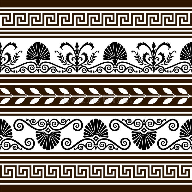 Set antike vektorelemente und -ränder stock abbildung