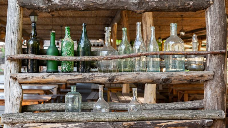 Set of antique glass bottles stock photo