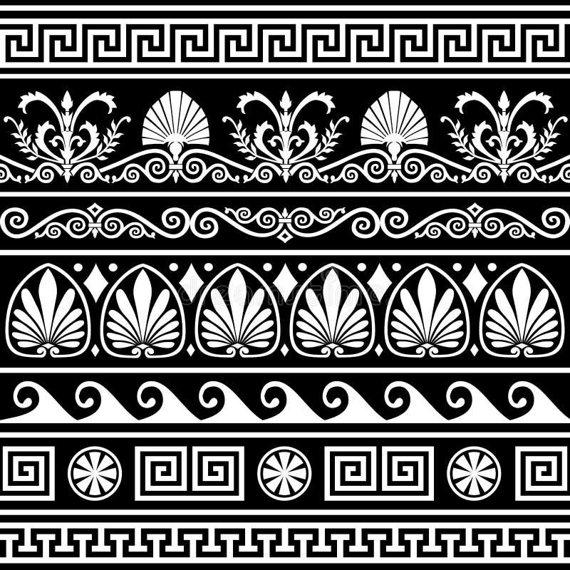 Set of antique greek borders on black stock photography
