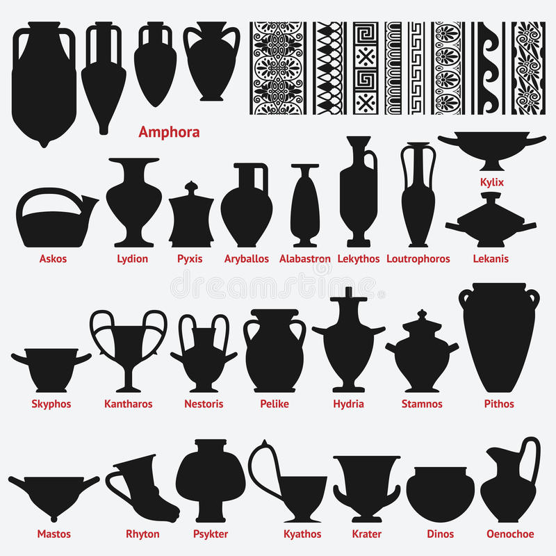 Set of antique Greek vases and border decoration seamless patterns stock illustration