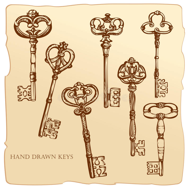 Set of Antique Keys. royalty free illustration
