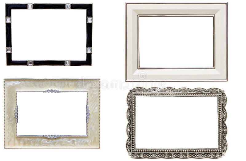 Set of antique metal picture and photo frames royalty free stock photos