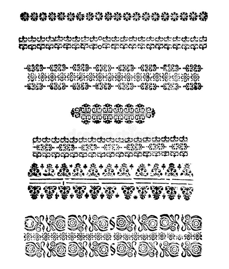 Vintage Vector Set of Drawings or Engravings of Antique Decorative Floral Design Elements, Horizontal Dividing Lines royalty free illustration