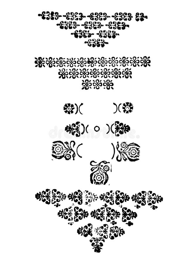 Vintage Vector Set of Drawings or Engravings of Antique Decorative Floral Design Elements, Horizontal Dividing Lines and stock illustration