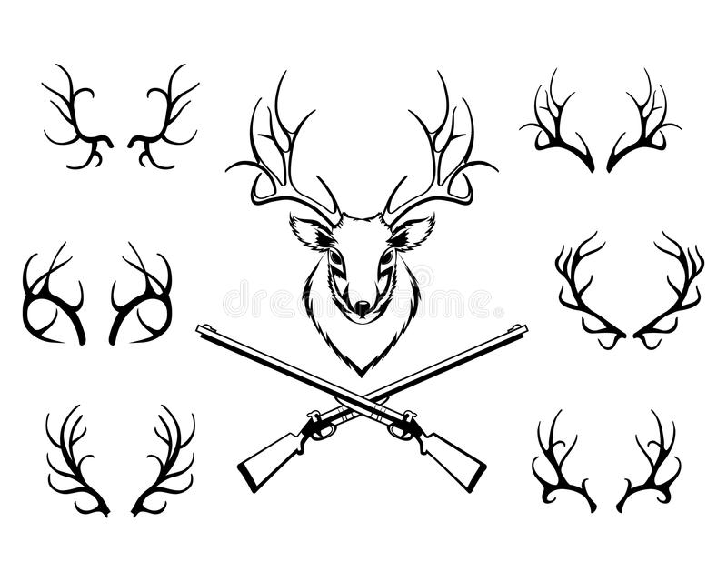Set of antlers with a trophy and guns. Set of black antlers vector silhouettes with a central trophy and guns in a hunting or deer stalking concept royalty free illustration