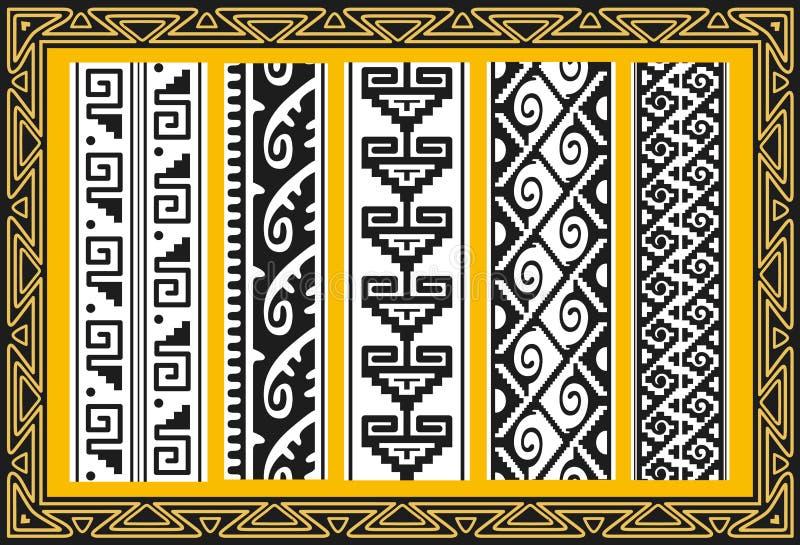 Set antyczni amerykańsko-indiański wektorowi wzory ilustracji