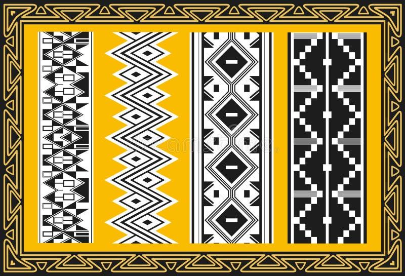 Set antyczni amerykańsko-indiański wzory ilustracji