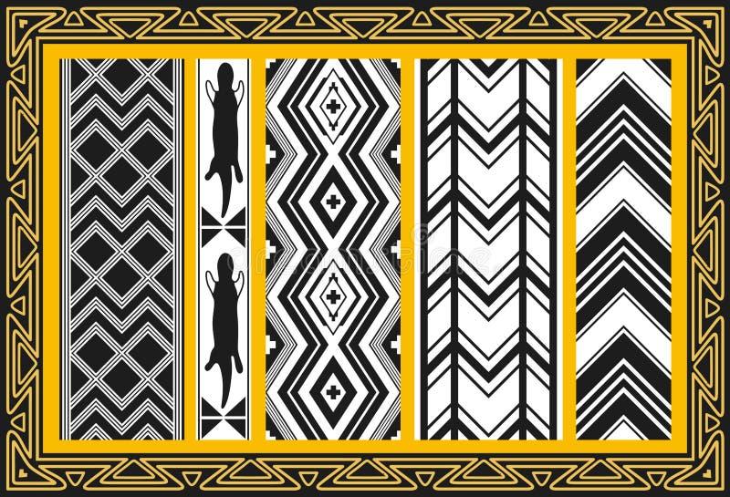 Set antyczni amerykańsko-indiański wzory ilustracja wektor