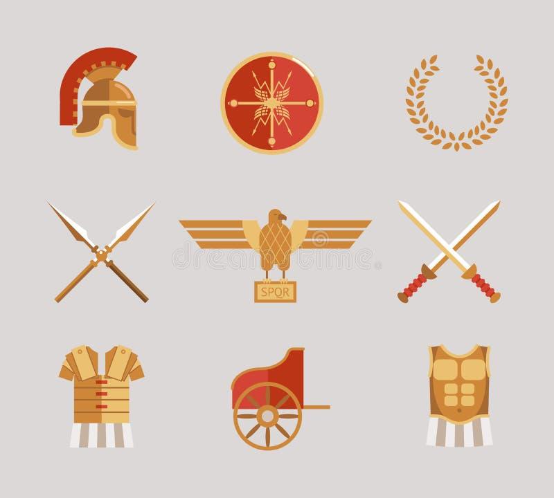 Set antyczni wojowników akcesoria royalty ilustracja