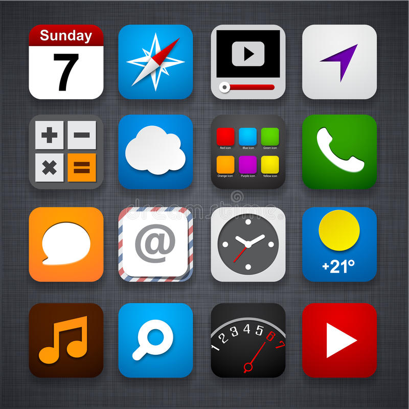 Set of app icons. stock illustration