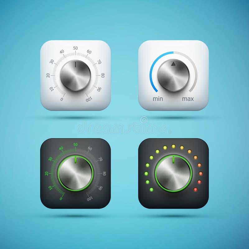 Set app ikona z muzyczną tomową kontrolną gałeczką royalty ilustracja
