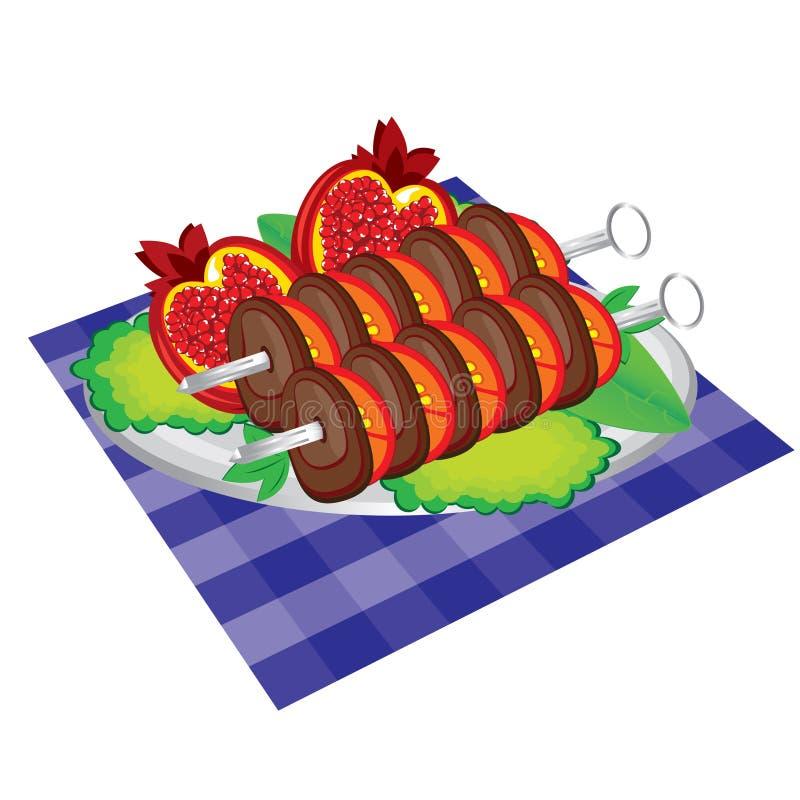 Set Appetit gegrilltes Fleisch und Gemüse. lizenzfreie abbildung