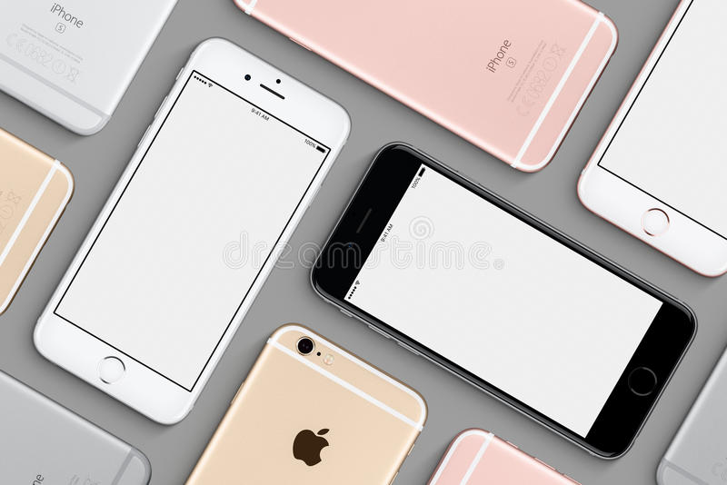 Set of Apple iPhones 6s mockup flat lay top view royalty free stock photo