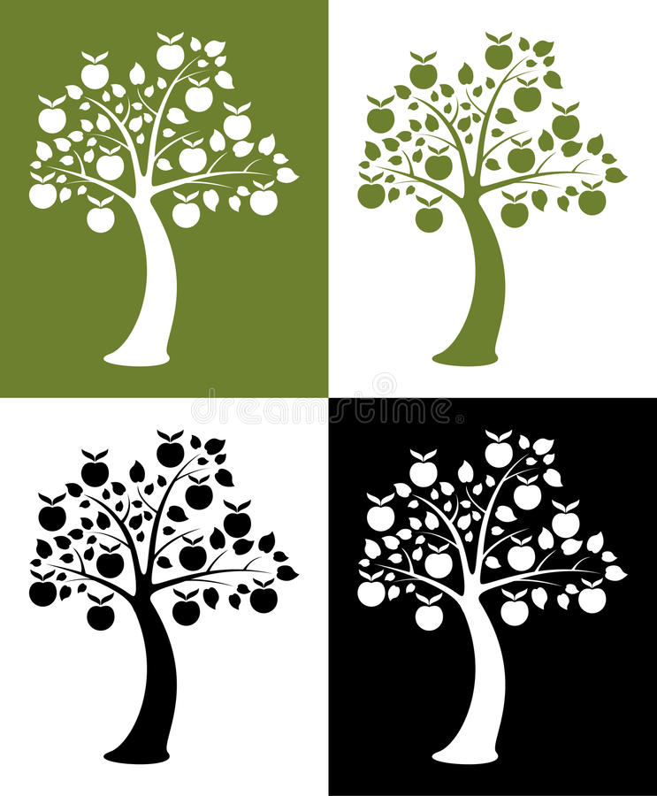 Set of apple trees. Vector set of apple trees on colorful background royalty free illustration