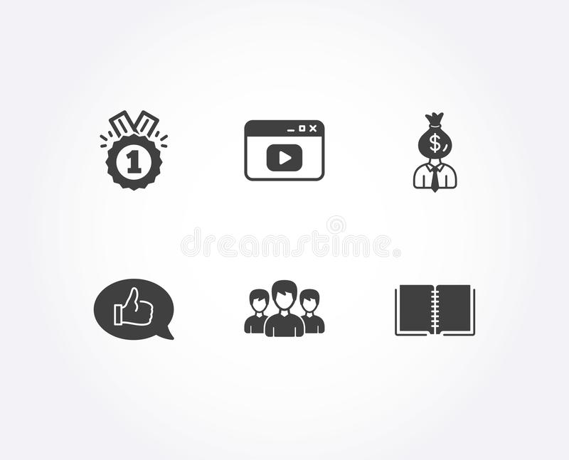 Approved, Manager and Video content icons. Feedback, Group and Book signs. vector illustration
